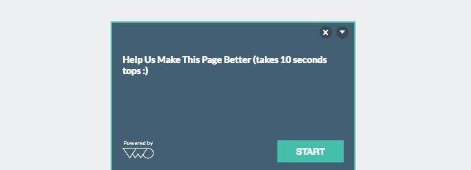 Website Surveys Welcome message