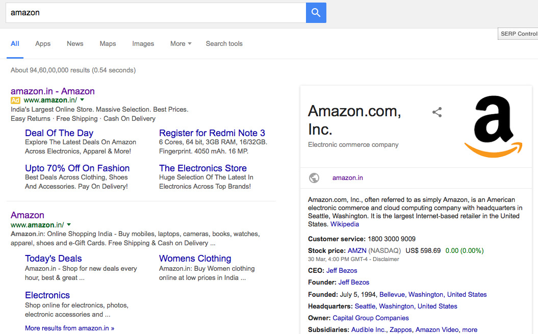 Amazon on Google Search page