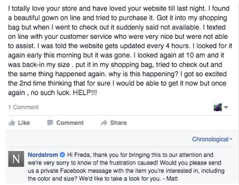 Negative Customer Feedback Response Nordstrom