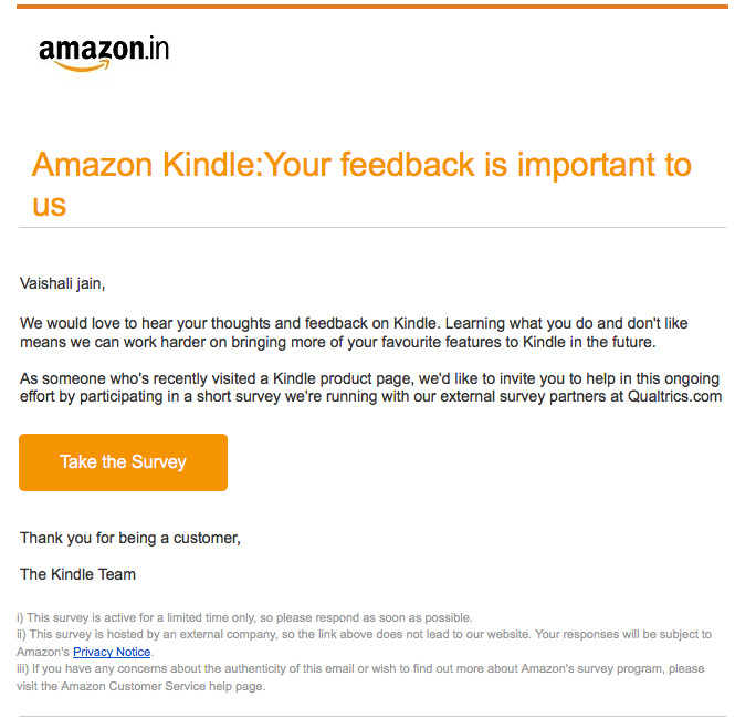 Cart recovery email - Amazon 3