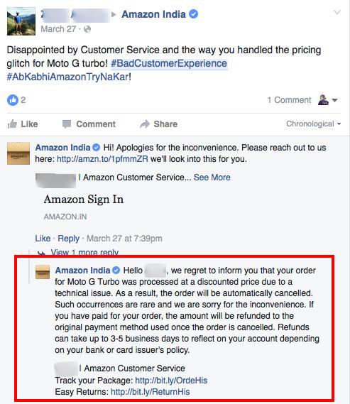 Negative Customer Feedback Response by Amazon