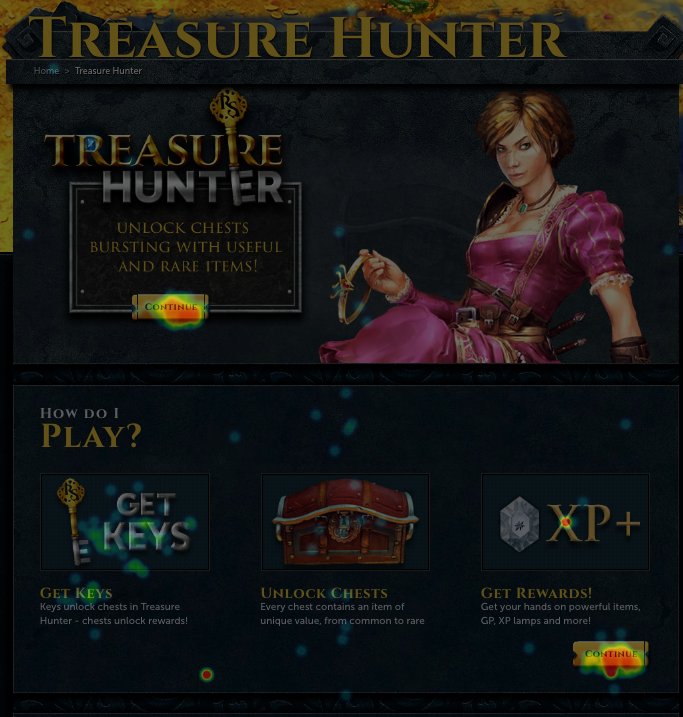Heatmap of RUneScape original page before A/B test
