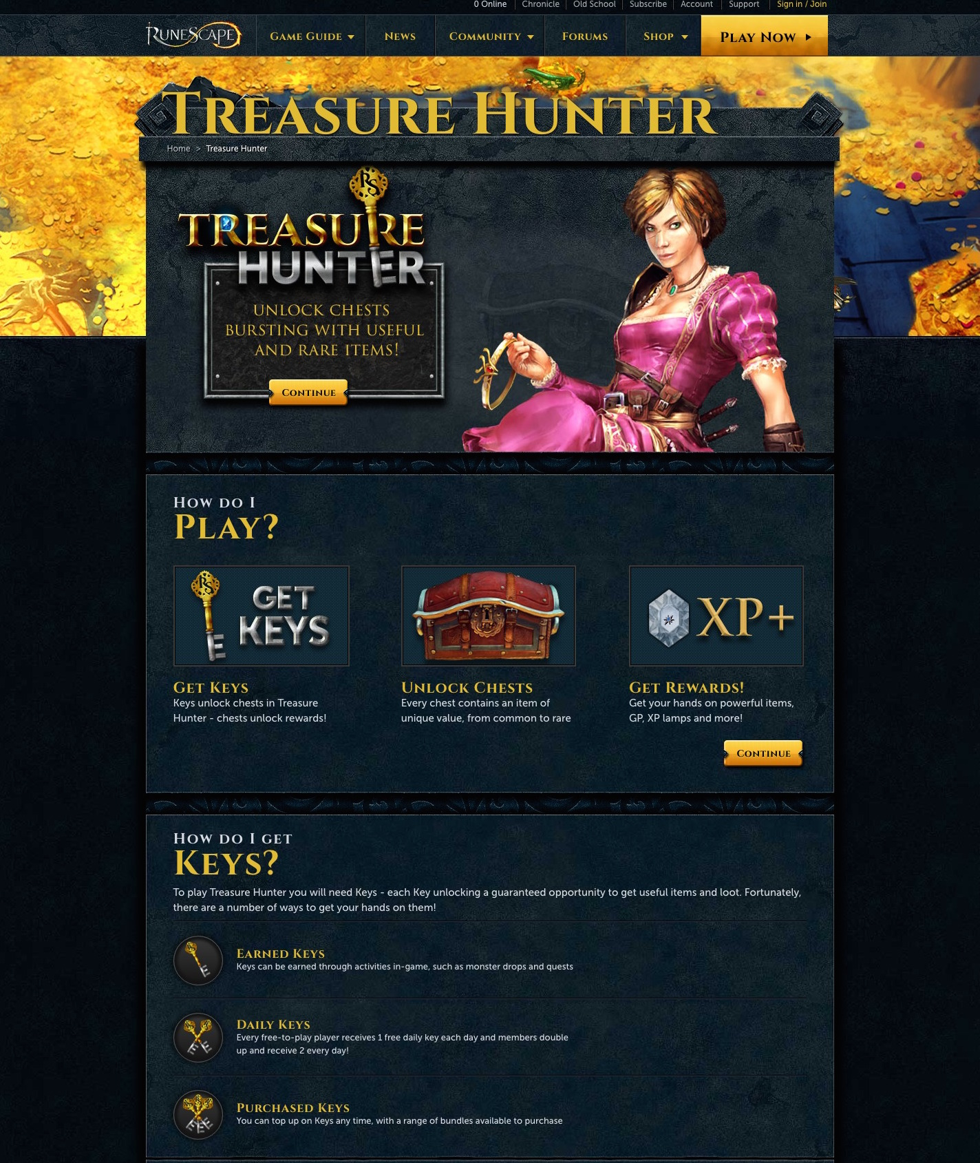 RuneScape Treasure Hunter control page for A/B Test