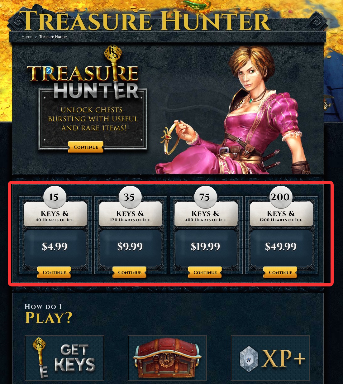 RuneScape Treasure Hunter variation page