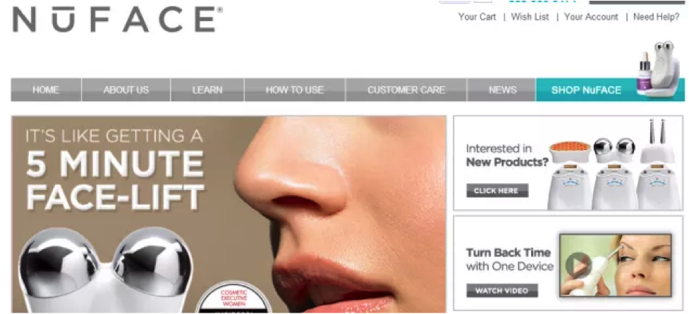 eCommerce conversion Optimization - Nuface Control