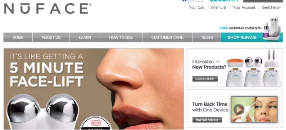 eCommerce conversion Optimization - Nuface Variation