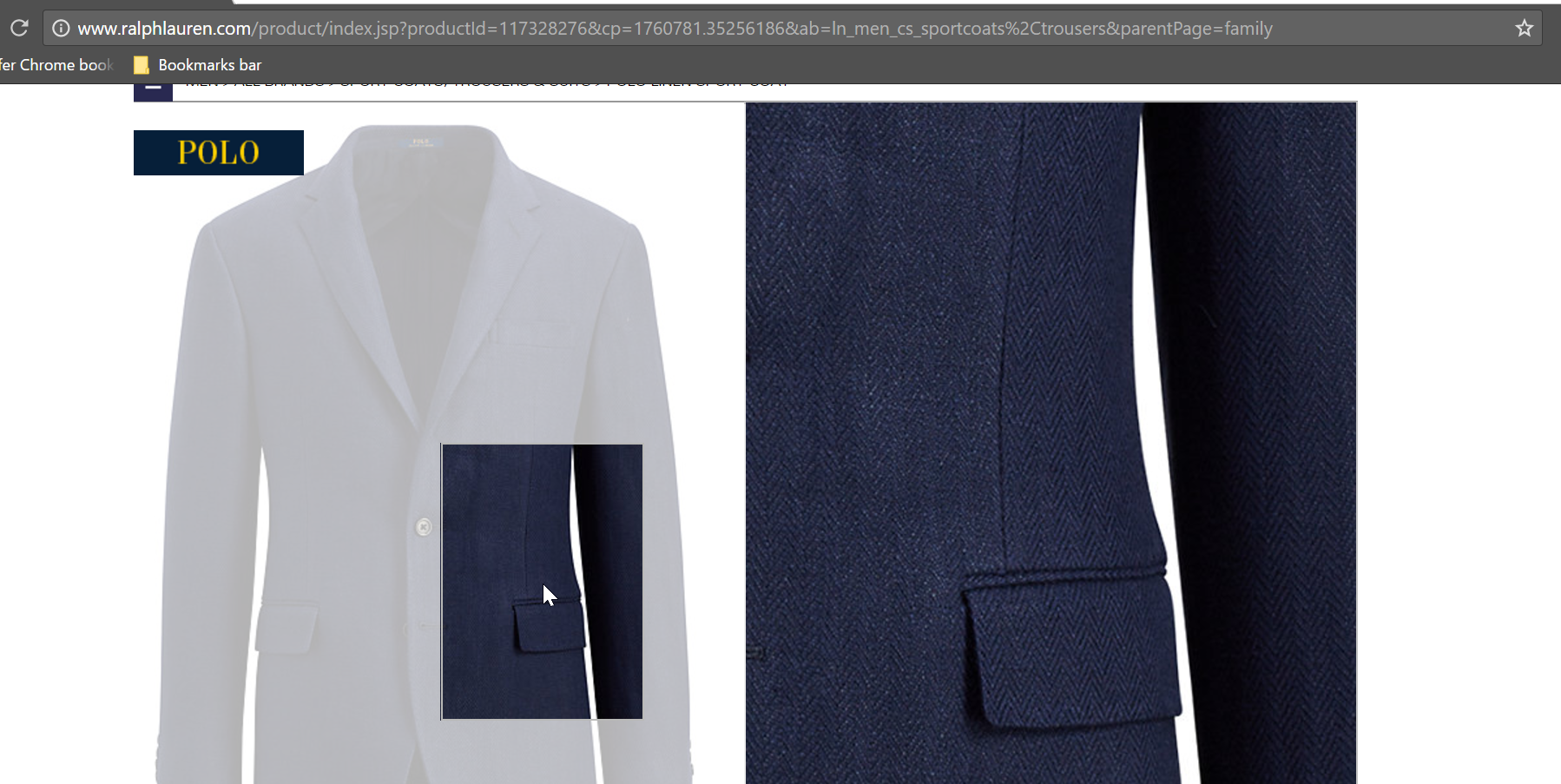 Close-up of a linen coat on a fashion product page